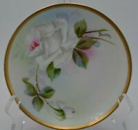 H Co Bavaria Hand Painted Saucer Plate Signed and Numbered 6""