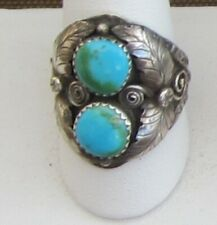 Signed Size 10 1/2 Ring, Two Blue Turquoise Free-forms Set in Sterling