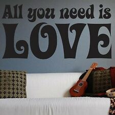 The Beatles All You Need Is Love Wall Sticker Quote Vinyl Decal Art House Decor