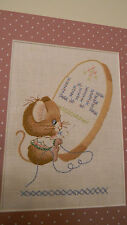 Completed Crewel The Embroiderer Mouse Sewing Love -Jca New Ready for 8x10 frame
