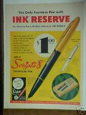 1951 Scripto 8 Fountain Ink Pen & Pencil print art ad