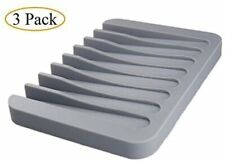 3 Pack Silicone Shower Soap Dish Set, Soap Saver Holder, Rectangle Concave Grey