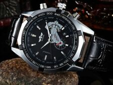 Winner Automatic Stainless Steel Case Leather Strap Skeleton Black Face Watch