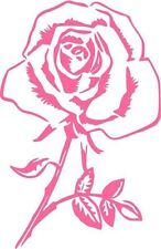 "Rose Flower Love Car Window Decor Vinyl Decal Sticker- 6"" Tall White"