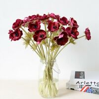 10pcs Artificial Anemone Silk Flowers Bouquet Wedding Bridal Bouquet Home Decor