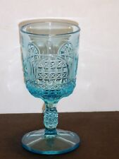 RARE 1880's BRYCE U.S. GLASS EAPG BLUE CATHEDRAL ORION GOBLET WAFFLE & FINE CUT