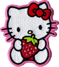 89040 Hello Kitty Sitting Strawberry Bow Kawaii Embroidered Sew Iron On Patch
