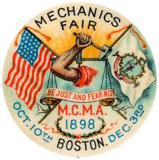 MECHANICS FAIR 1898 BUTTON WITH CORRECT BACK PAPER.