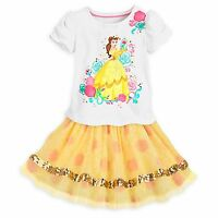 Disney Store Belle Skirt Set Beauty & the Beast Outfit Glitter 2pcs Size 5/6 NEW