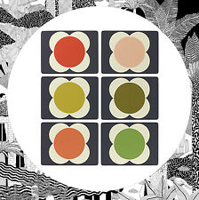 Orla Kiely Flower Spot Placemats- Set of 6 Table Mats Retro Leaf Flower Pattern