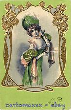 Art Nouveau - Beautiful Woman with Flowers Belle Femme avec des Fleurs - L067