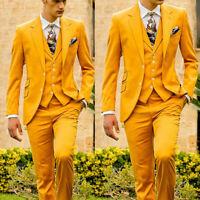 Yellow Formal Business Slim Men's Wedding Suits Prom 3 Piece Groom Tuxedo Custom