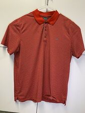 Izod Golf Mens Short Sleeve Red, Black, and White stripped Polo