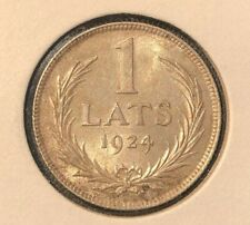 UNC++  Latvia 1 Lats 1924 Silver Coin lot, SUPER GRADE!