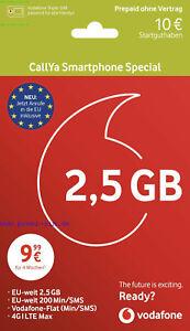Vodafone CallYa Smartphone Special Prepaid Sim Karte D2 inkl.2,5 GB LTE +10 Euro