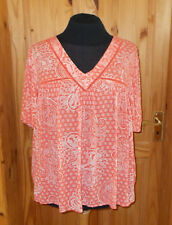 M&S coral orange ivory off-white floral paisley short sleeve tunic top 18 46