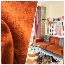 NEW Designer Burnt Orange Chenille Velvet Upholstery Fabric- BTY