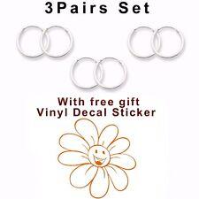 USA Seller 3pairs Set Super 14mm Hoop Earrings Sterling Silver 925 Orange Flower