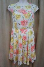 Betsey Johnson Dress Sz 10 Ivory Multi Floral Print Cap Sleeve A Line Dress