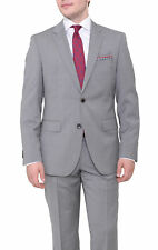 Hugo Boss The Grand/central Slim Fit Light Gray Plaid Two Button Wool Suit