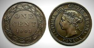 Canada 1901 Large Cent (INV0116) Brown AU-55!!