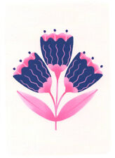 FINE ART GREETING CARD FLOWERS Abstract BIRTHDAY Blank RISOGRAPH MELISSA DONNE