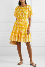Tory Burch Dress Embroidered Eyelet Yellow NWT 2019 4 S Broderie Anglais