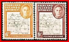 FALKLAND IS. 1948 KGVI MAPS (thin lines) SC#1L6-7//SG#14-15 MNH CV£48  (D1)