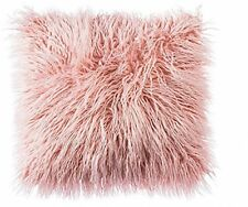Home Soft Plush Mongolian Faux Fur Pillow Cover Cushion Case Pink 18x18
