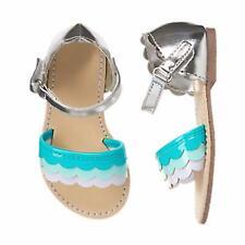 Gymboree Sz 10 Shoe TIDE POOL AQUA SILVER SCALLOPED SANDALS Age 4 5 6