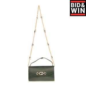 RRP €2295 GUCCI Leather Flap Crossbody Clutch Bag GG Horsebit Logo Chain Strap