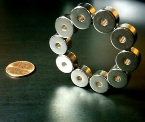 "10 Neodymium N52 Ring Magnets Super Strong Rare Earth 1/2"" x 1/4"" Diametric Pole"