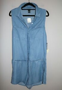 Forever 21 Brand Denim Look Button up Jumpsuits Size S BNWT #SB52