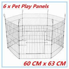 63x60cm 6 Panel Pet Dog Play Pen Playpan Exercise Cage Puppy Enclosure Fence LPU