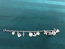Vintage Religious Sterling Silver Charm Bracelet With 10 Charms