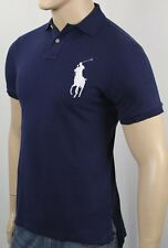 Polo Ralph Lauren Azul Marino Custom Fit Big Pony Blanco Camisa Nwt