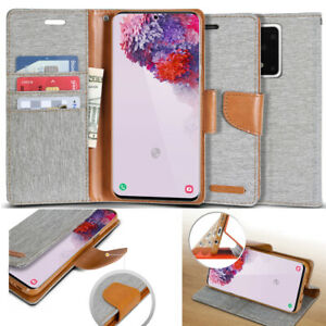 Sturdy Fabric Slim Flip Wallet Holder Case Cover for Galaxy S20, S20+, S20 Ultra