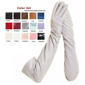 custom made 30cm to 80cm long back three lines top real leather gloves 15 colors