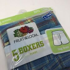 Fruit of the Loom boys boxers 5 pack Underwear Plaid Size Large 14-16 New