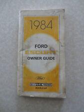 Original 1984 Ford Escort car owner's manual