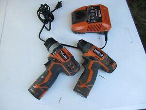 2 drill kit RIDGID R82009 12V Drill/Driver , r820005 (2) Batteries & Charger