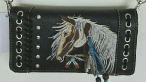 Black Equestrian Embroidered Horse Head Wallet Cell Phone Case Cross BodyBag