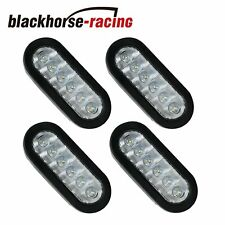 """(4) 6"""" Oval White LED Back up Reverse Stop Light Grommet For Trailer Truck Fleet"""