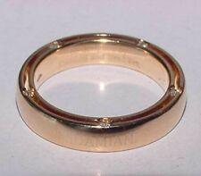 DAMIANI 18K Yellow Gold Diamond Ring Eternity 4mm Band Size 6 Brad Pitt + Pouch