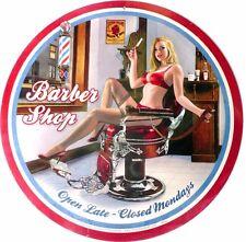 BARBER SHOP open late  Nostalgic Auto Memorabilia Tin Sign