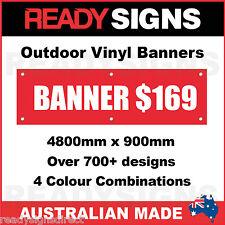 CUSTOM VINYL BANNERS - 4800mm x 900mm - Australian Made  - 700+ Designs