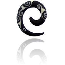 PAIR BUFFALO HORN 0g 8MM SPIRALS plugs body jewelry INLAY DESIGN PLUGS
