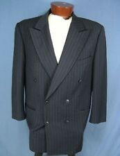 "Bachrach Navy Pinstripe Double Breasted Wool Sport Coat Suit Jacket Sz 47"" Chest"