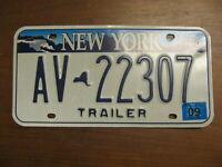 2009 09 NEW YORK NY LICENSE PLATE TRAILER NATURAL STICKER AV-22307