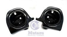 "Mutazu Vivid Black Lower Vented Fairing 6.5"" Speaker Pods for Harley Touring"
